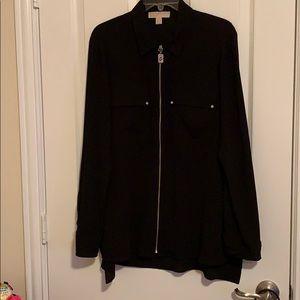Michael Kors black front zip shirt.. size Xl